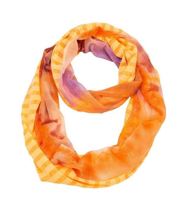 Stripe and Tie-Dye Infinity Scarf - Orange - CZ11MOE41AL