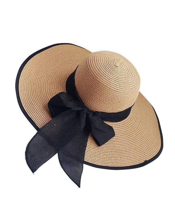 iShine Womens Big Bowknot Straw Hat Foldable Roll up Sun Hat Beach Cap UPF 50+ - Coffee - C8183G3MYXW