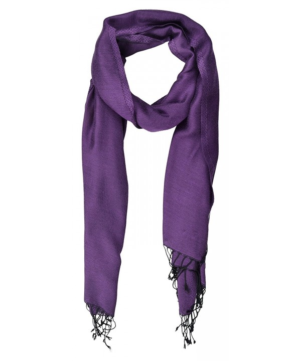 "Pashmina Double Sided Two Tone Shawl Scarf Wrap from India 80"" x 27"" - Purple - C917YK4O4KH"
