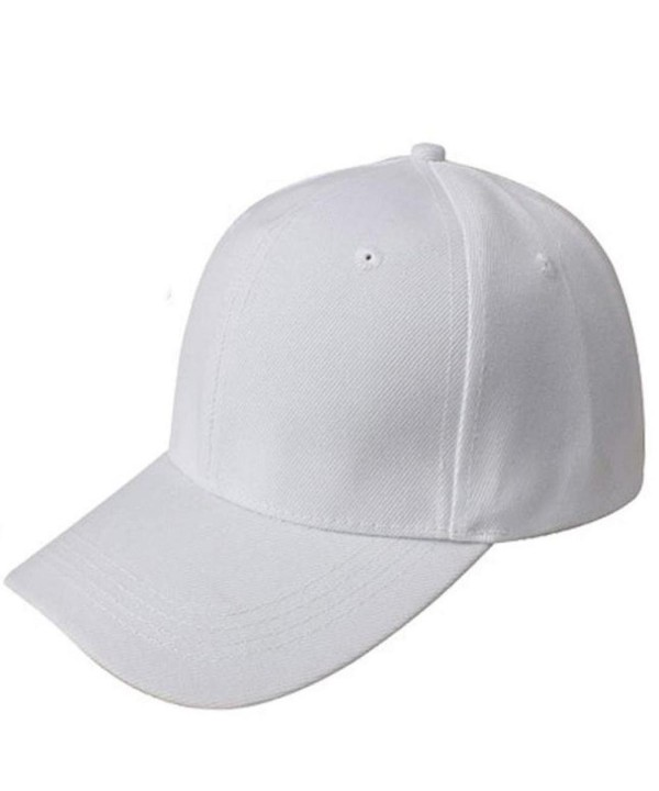 Voberry Men Womens Adjustable Twill Cotton Super Cool Summer Outdoor Canvas Baseball Cap - White - CM12DZJHKYX