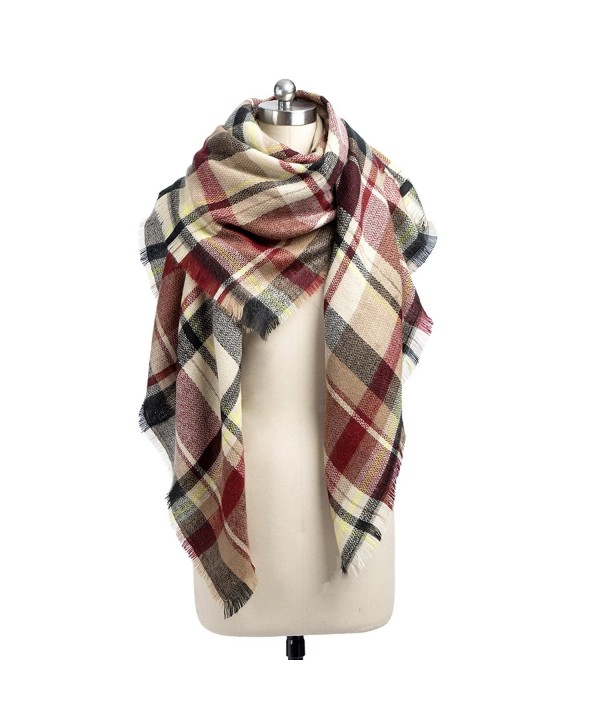 Women's Stylish Warm Blanket Tassels Scarf Soft Plaid Tartan Winter Wrap Shawl - Burgundy Gird - CH188N54HKC
