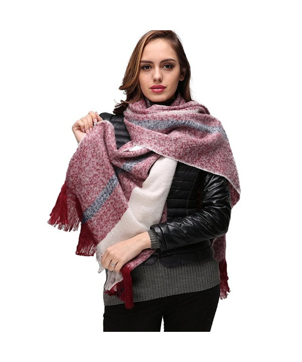 Large Winter Scarf Women Scarves - INvench Cozy Soft Cashmere Plaid Blanket Wrap Shawl for Women Girls - B - C1187X9733T