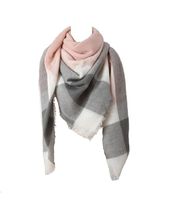 Women Big Square Scarves Plaid Blanket oversized Warm Tartan Checked Shawl wrap - Pink - C9186G4YMQ6