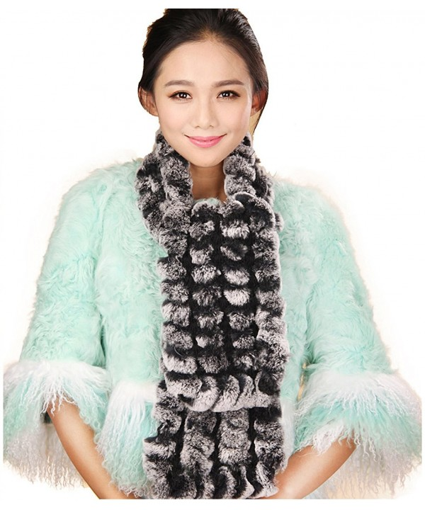 URSFUR Wide Rex Rabbit Fur Scarf Multicolor - Black Frost - C511MD1D8YL