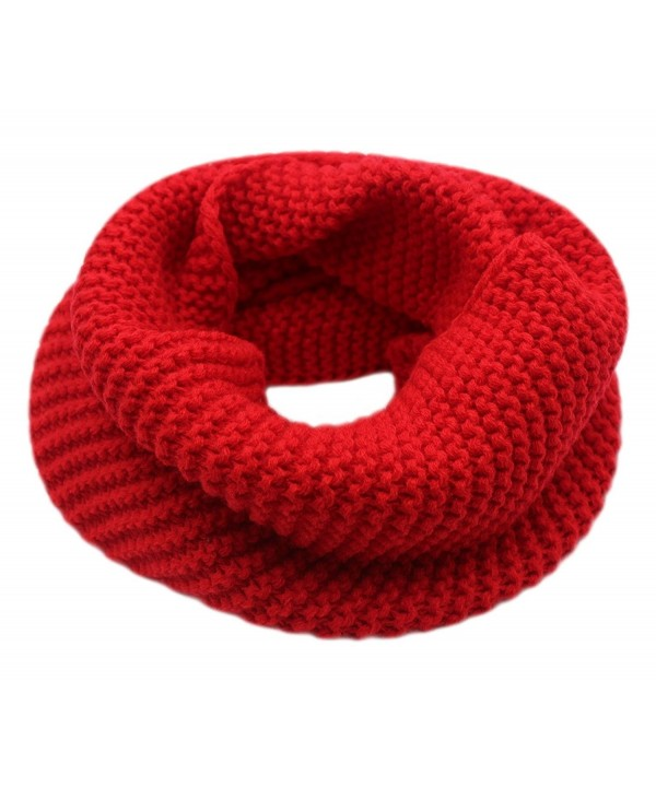 CC-US Women Winter Infinity Scarf Knit Neckerchief Warm Circle Loop Shawl - Red - C3184HWAQDA