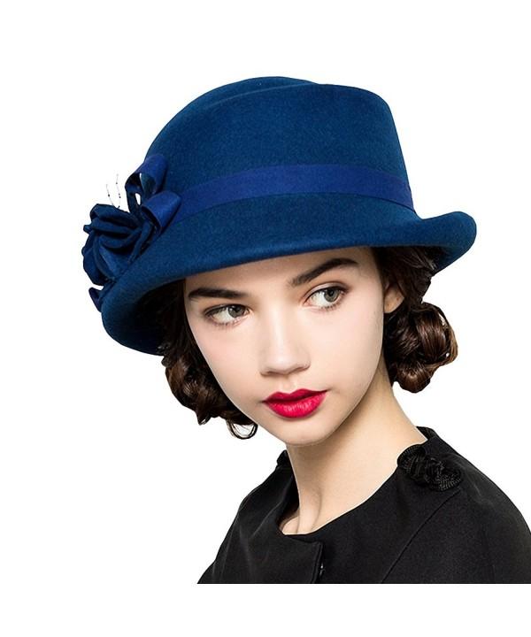 Maitose Women's Wool Felt Flowers Church Bowler Hats - Royal Blue - CX12MCIDZ47