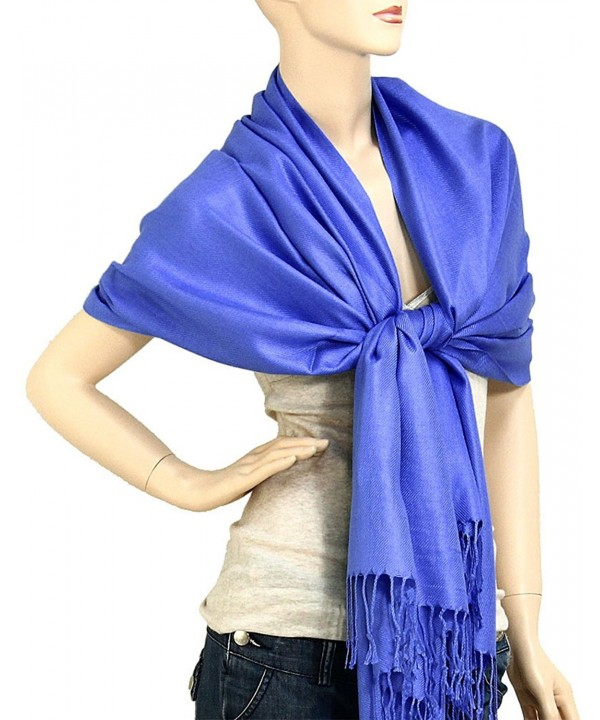 "Falari Women's Soft Solid Color Pashmina Shawl Wrap Scarf 80"" X 27"" - Royal Blue - CT11PJIWQQB"