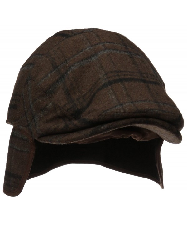 Henschel Men's Wool Blend Plaid IVY Hat With Earflaps - Brown - C911H4IN5YB