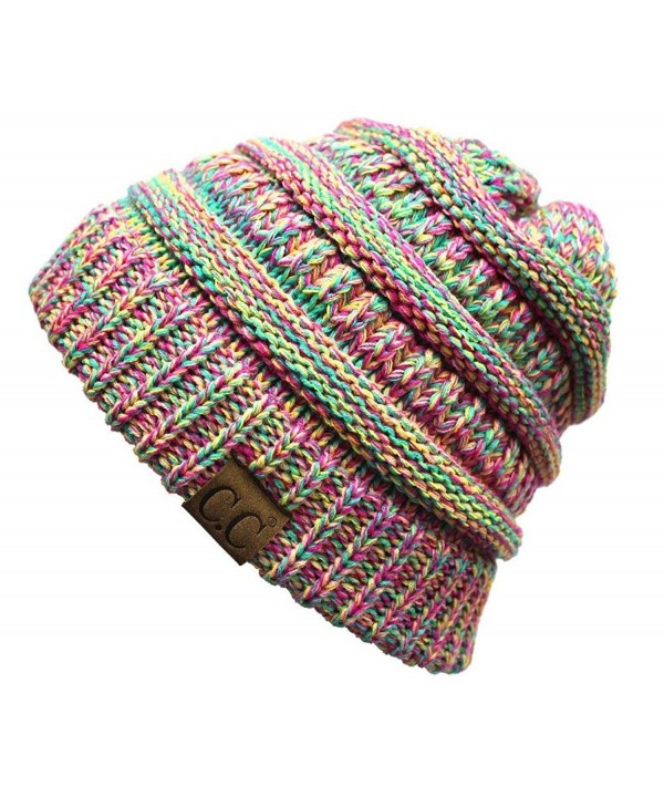 H 6800 816 41 Four Tone Marled Beanie - Four Tone Mix 11 - a Yellow- Hot Pink- Turquoise- Pink - CX12MY3LH5N