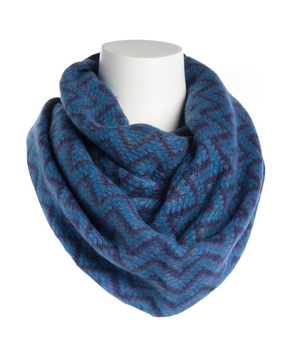 Tickled Pink Women's Zig Zag Infinity Scarf Soft Warm Winter Lightweight Oversized Shawl Wrap - Blue - C8186AEOGOC