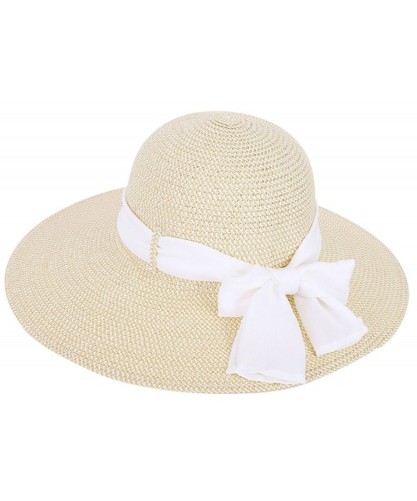 Toppers Womens Summer Sun Beach Hat Big Bowknot Wide Brim Straw Hat UPF 50+ - Cream - CB18C9ULG55
