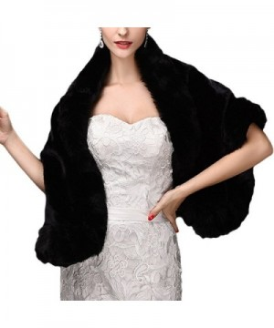 Faux Fur Shawls Wraps Wedding Coat for Women Girls Winter Stoles Wedding Jacket - Black1 - CR189HS4A2W