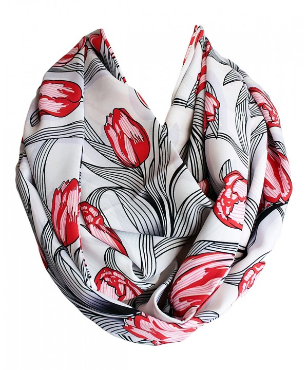 Etwoa's Red Tulip Flowers Infinity Scarf Circle Loop Scarf - CS17AZUOU4C