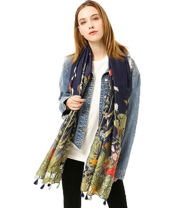 "Ababalaya Women's Extra Large 70""&times35"" Soft Print Scarf Wrap Beach Shawl Fringed - Navy Blue - CP18529RUQA"