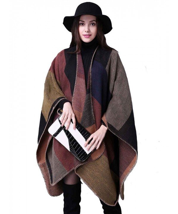 Aukmla Women's Plaid Pashminas Shawls and Wraps Poncho Cape for Girls - Brown - CN186GT37EW