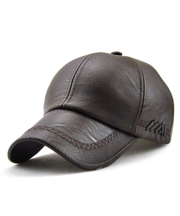 PU Leather Baseball Cap Casquette Flat Hat European and American Retro Style For Men - Dark Coffee_1 - C5187Q8OK70