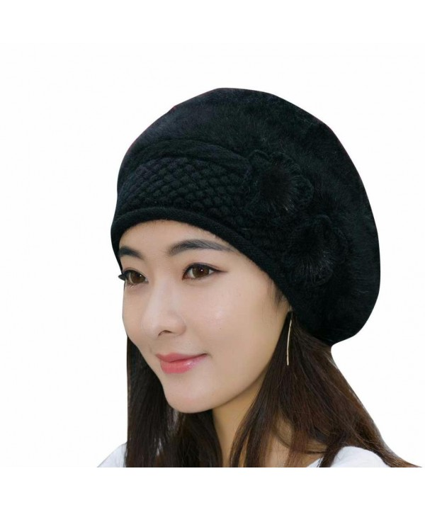 French Beret Beanie Cashmere- Women's Elegant Flower Wool Cloche Bucket Ridgy Bowler Hat (D) - D - CY188YU06KY