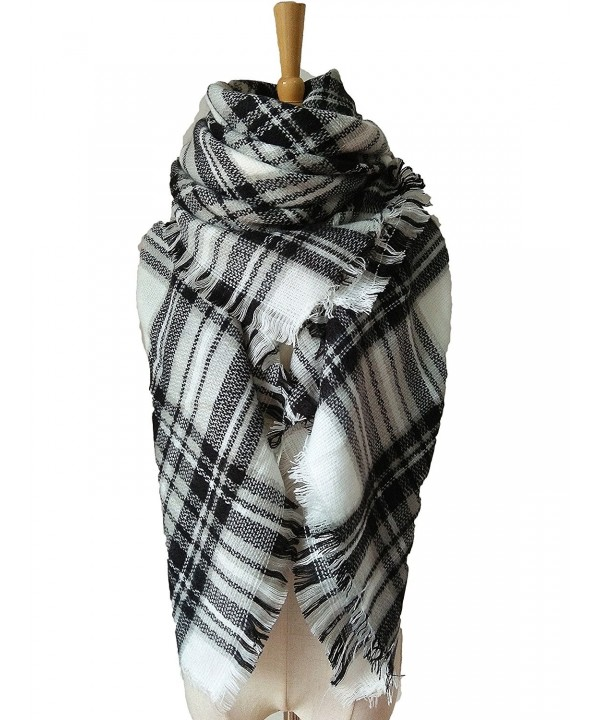 Oops Style Women's Fashion Winter Long Big Warm Plaid Blanket Shawl Scarf for Women - Raw White Gray - C6186EZSG8D