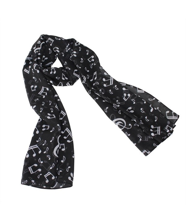 Fashion Lady Women Girl Music Note Printed Chiffon Scarf Shawl Muffler Black Hot - C311KKJIZ41