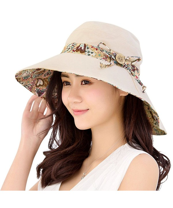 HindaWi Womens Sun Hats Summer Reversible UPF 50+ Beach Hat Foldable Wide Brim Cap - Beige - C717YKUIQQ8
