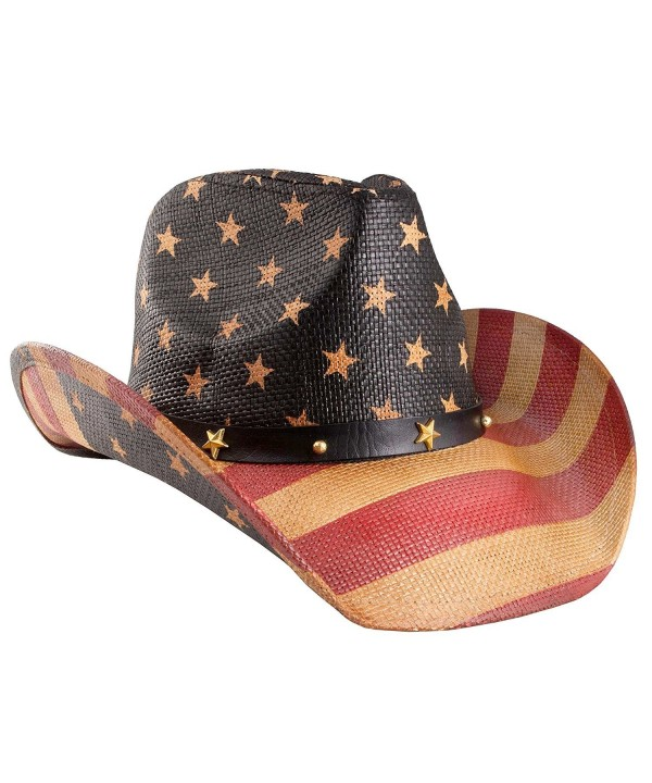 Shapeable Straw Western Cowboy Hat- Vegan Leather Trim W/ Bead Design- Cowgirl - tea stained - CI187C00Z40