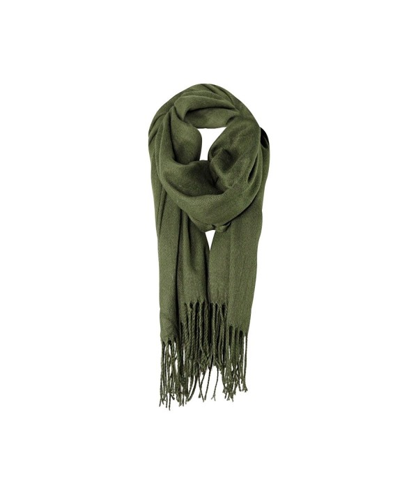 Olive Solid Color Fringe Womens Fashion Warm Winter Blanket Scarf Scarves - CF18778QZEK