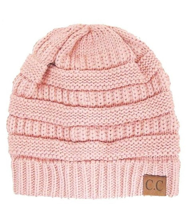 Black Thick Slouchy Knit Oversized Beanie Cap Hat-One Size-Rose Pink - C511PZJIVI1