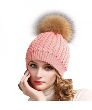 Women Winter Knitted Pom beanie-Fur Hat Big Raccoon Pom Pom Hat Women Crochet Knit Bobble hat - Pink - CV18558XC3H
