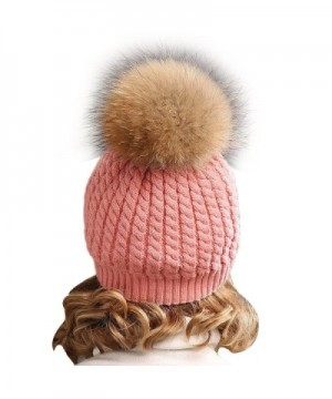 Winter Knitted beanie Fur Raccoon Crochet in Women's Skullies & Beanies
