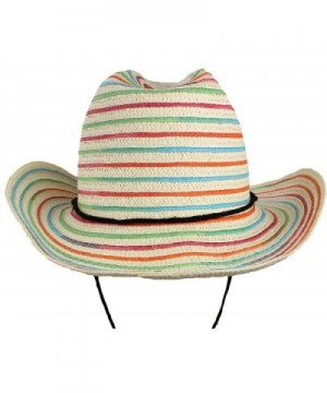 bogo Brands White Straw Beach Hat With colorful Ribbon Accents and Adjustable Strap by - C0182MKTOK6