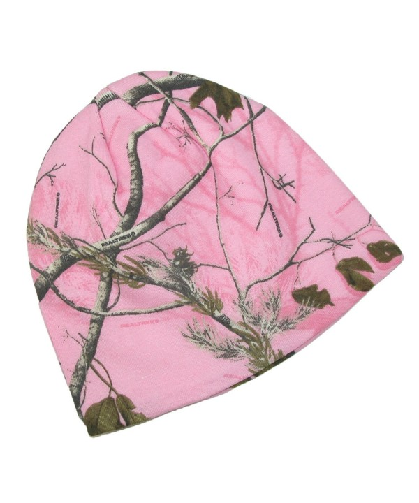 CTM Realtree AP Women's Cotton 8 Inch Camo Knit Stocking Cap - Pink - CH1274E1DQ1
