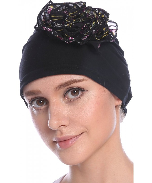 Ababalaya Women Soft Flower Hat in childbirth Cap Chemo Cancer Cap in 5 Colors - Black - C317Y2HXWC2