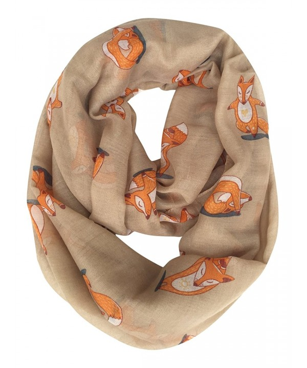 GERINLY Cute Fox Print Infinity Loop Scarves For Women - Light Coffee - CX187322ON4