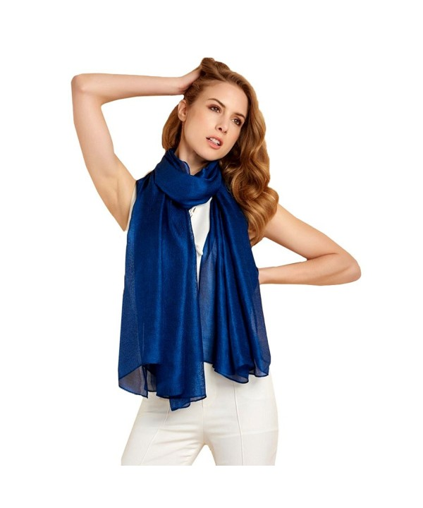 Ysiop Womens Oversized Scarf Solid Color Shiny Shawls and Wraps for Evening Weddings - Sapphire - CG17YGUICIA