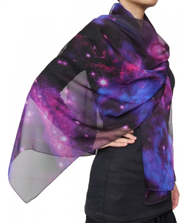 Fashion Nebula Galaxy Twinkle Stars Print Chiffon Scarf Purple - CD1252SNTYZ