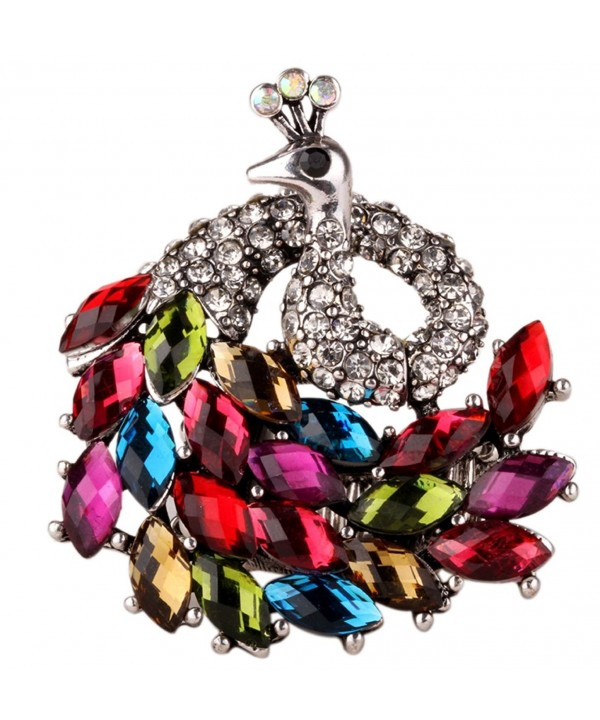 YACQ Jewelry Women's Crystal Peacock Stretch Rings Scarf Ring Buckle Clip Women - Multi-color - CD12KVEJT8F