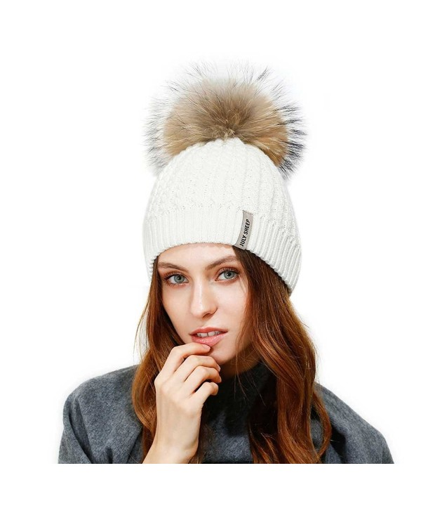 JULY SHEEP Crochet Knit Fur Hat With Real Large Fur Pompom Beanie Hats Winter Ski Cap - White - CK183NTC7W0