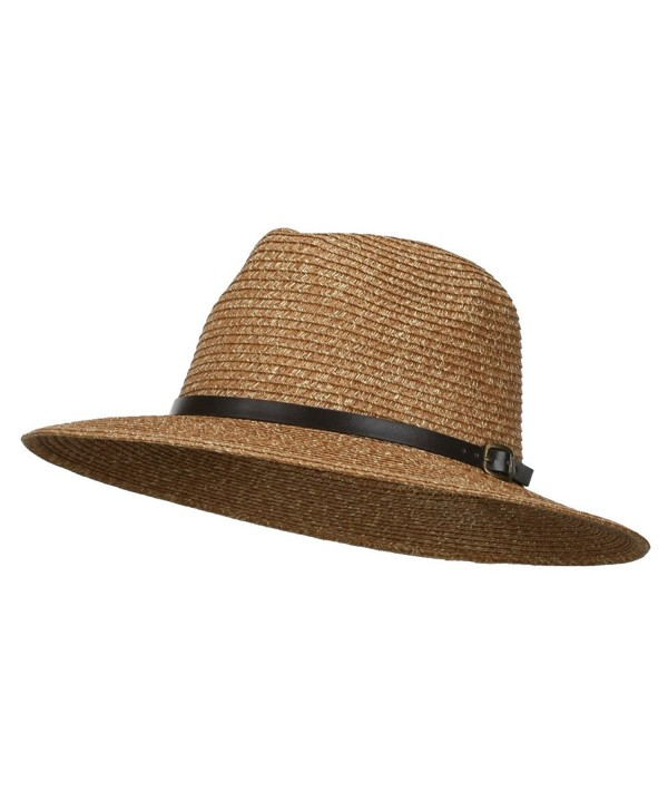 Men's Large Brim with Belt Fedora - Brown - CA11WYQ8XBD