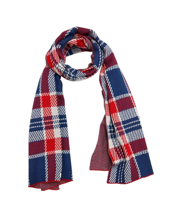 Knitbest Women's Checked Plaid Long Fashion Blanket Scarves Wrap Shawls - Red - CB12NBA632N