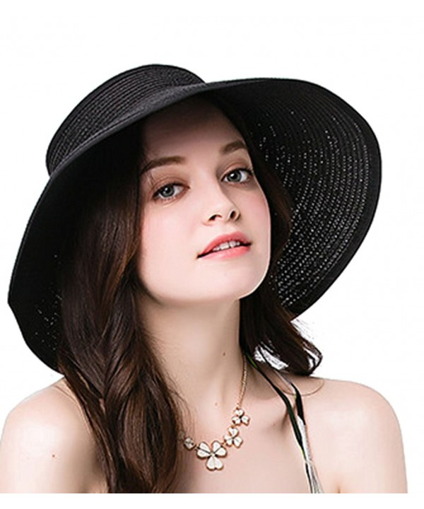 NobleScore Women's UPF 50+ Packable Wide Brim Roll-Up Sun Visor Beach Straw Hat - Black - CB183AY7RZC