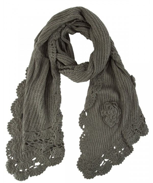 Floral Crochete Scarf - Charcoal - CO11I8K6A63