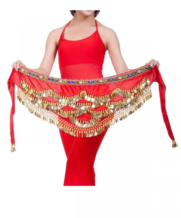 Ru Sweet Triangular Belly Dancing Hip Scarf Wrap Skirt And Gold Coins - Red - CS11TF7EWNR