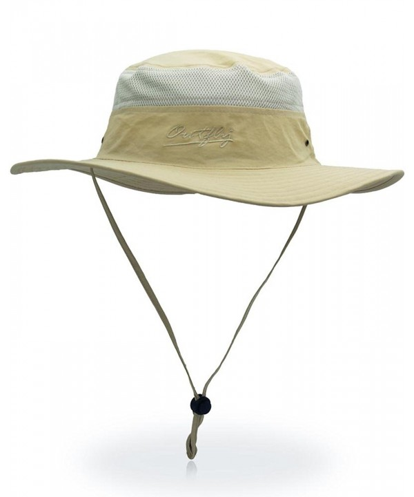 Outdoor Sun Protection Hat Wide Brim Bucket Hats UV Protection Boonie Hat 56-62cm - Khaki - C7182WM3O46
