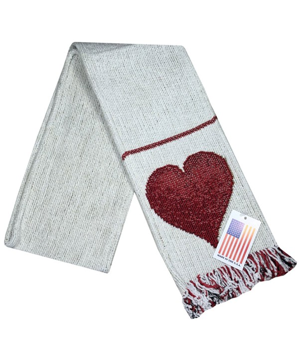 "Manual Unisex Chenille Love Heart White Rib Knit Fringed Scarf ASFLOV 5.5x60"" - C1126EGTON9"