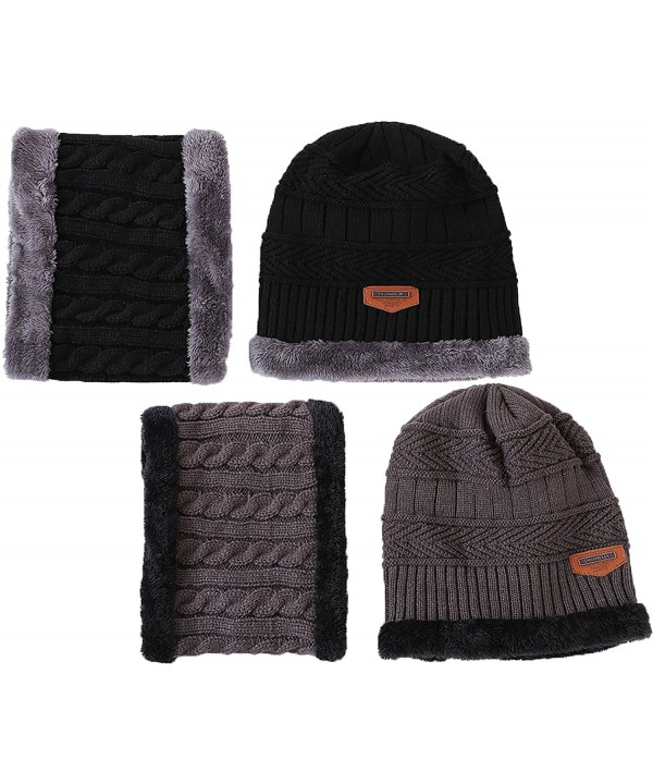 Ababalaya Women's Winter Warm Fleece Knit Beanie&Neck Scarf Windproof Face Mask Sets - Black+dark Gray - C4188ISE7I7