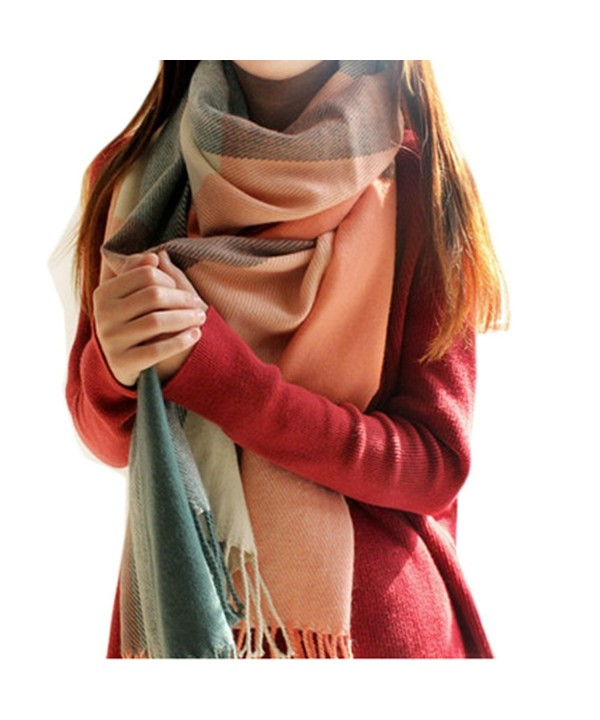 KM Women's Autumn and Winter Long Scarves/ Warm Scarf/ Plaid Shawl - pink-green - CD11OX5EOSJ