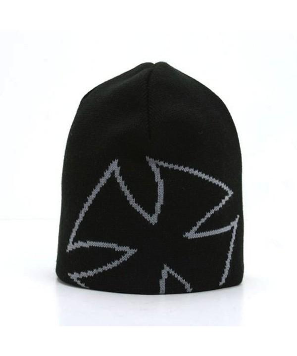 Magic Apparel Giant Cross Design Knit Beanie Cap (4 Color Choices) - Black/Grey - C4110DL2VX7