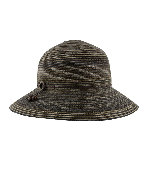 Women's Wide Brim Washable Sun Hat in Chocolate With Adjustable Internal Sweat Band - CN127ZGH565