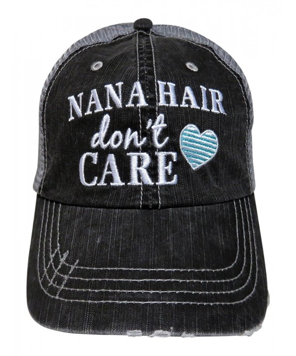 Embroidered Nana Hair Don't Care Grey Trucker Baseball Cap - Mint Heart - C912O3RN5HC