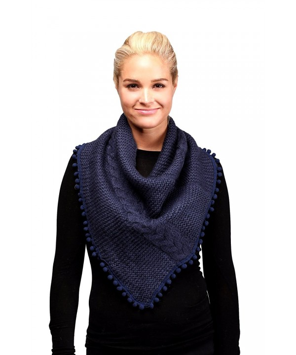 Women's Knitted Loop Tube Infinity Collar Scarf with Pom Poms - Navy - CL188LEUQYD